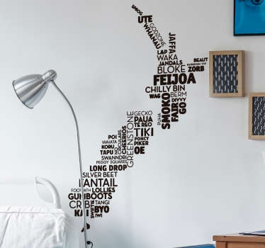 New Zealand map words wall decal with the design of a bunch of words that can be place in a desired manner. It is available in different  colours.