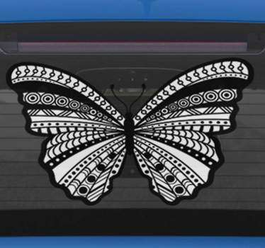 Decorate your car and make it unique with this car sticker, that shows a butterfly, decorated with an ethnic design in black and white