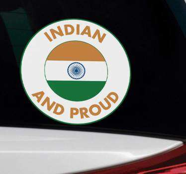 Decorative Indian pride car sticker to apply on the surface of a vehicle to show support and pride for the country. Buy it in the best suitable size.