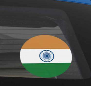 An Indian flag car vinyl sticker to decorate the surface of any vehicle . It has the colour representation of Indian on a round surface.