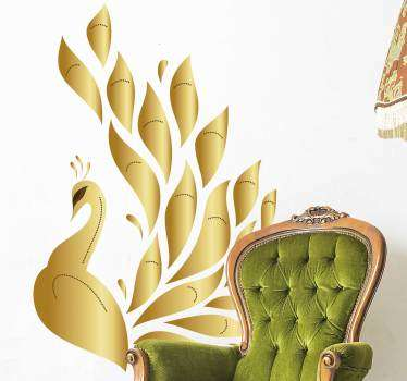 Decorative home wall sticker with the design of an elegant ornamental golden peacock. Choose it in the best suitable size.