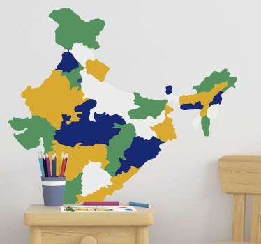 Decorative Indian map wall decal created in multi colored style. Buy it in the best size option for a space. Easy to apply.