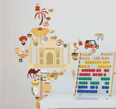 Indian symbolic wall sticker with the features associated with the country. Buy this lovely illustrative design in the best suitable size.