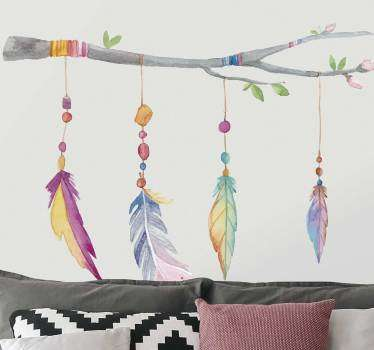 Do you like the Indian style? If you do, then you can decorate your living room or bedroom with this animal wall sticker, with four colorful feathers!