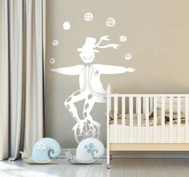 Sticker enfant clown velo