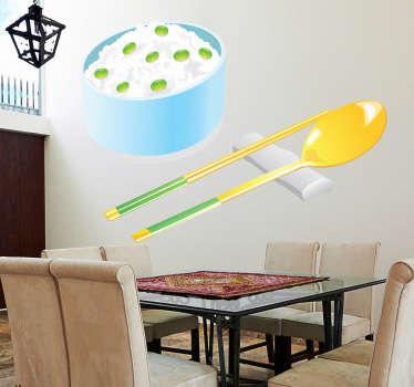 Naklejka ryż z warzywami