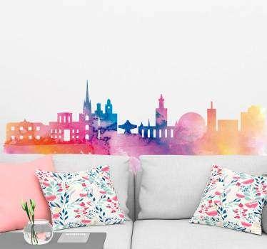 Stockholm skyline vardagsrum vägg inredning