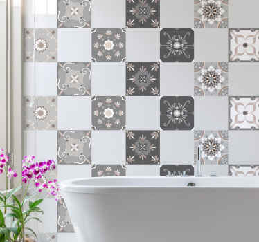 Original pack de azulejos adhesivos formada por un seguido de azulejos estilo hidráulico con el diseño de flores en tonos gris y crema.