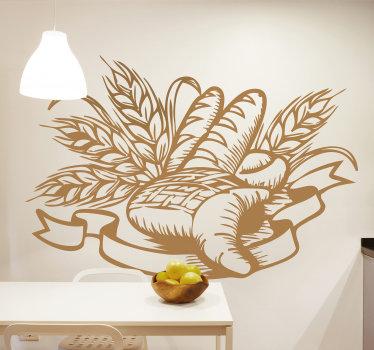 Autocolante decorativo ilustrando diversos tipos de pão, envoltos em elegantes ramos, ideal para decorar a sua cozinha ou a sua padaria!
