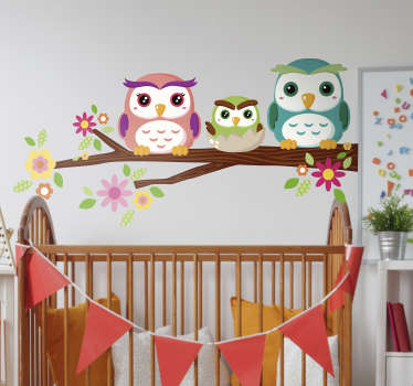 Help your children drift peacefully off to sleep under the watchful eyes of this owl family wall sticker. Available in a wide range of sizes!