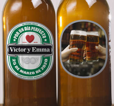 Wedding vinyl sticker to apply on bottle of drinks for ceremonies. It is personalizable with the details of choice and you can choose the size.