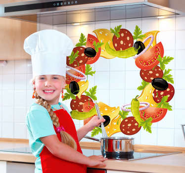 Decals - Vibrant and colourful illustration of salad with tomatoes, black olives, cheese and peppers arrange in a circle. Wall stickers.