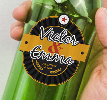 Customize name  a wedding vinyl decal to apply on the bottle of beer for ceremony. Buy it in the size that is suitable to place on the surface.