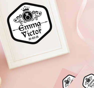 Personalised couple wedding sticker