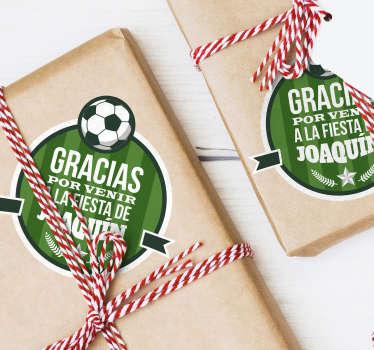 """Pack formado por 20 pegatinas para cumpleaños con temática de fútbol y el texto """"Gracias por venir a la fiesta de"""". +10.000 Opiniones satisfactorias."""