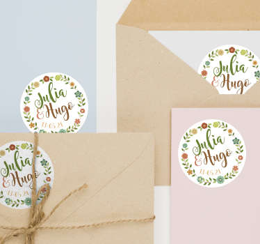 Spruce up your wedding reception, invitations and centerpieces with these flowery wedding stickers. Choose from a wide range of sizes!