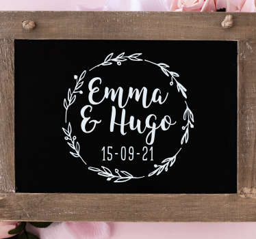 personalised wedding laurel wedding sticker