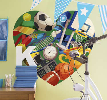 Give your kids' rooms some energy with this high quality heart sticker full of sporty objects. Choose from a wide variety of sizes!