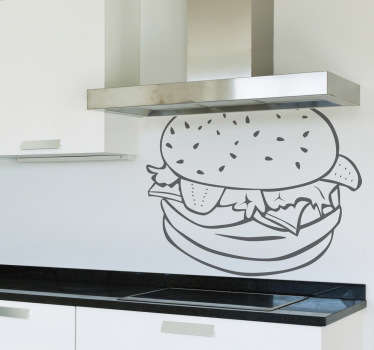 Decals - Outline illustration of a hamburger with lettuce, tomatoes and cheese. Ideal for homes or businesses.