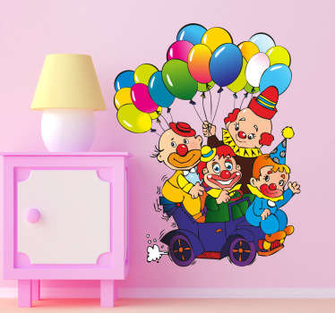 Kids wall sticker art - illustration design of funny clowns trying to fit in a small car.