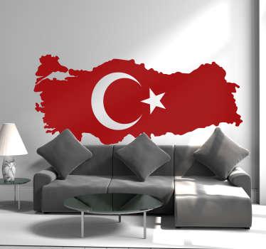 Siluet haritası türkiye bayrağı çıkartması