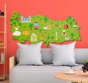 Türkiye haritası semboller oturma odası duvar dekoru
