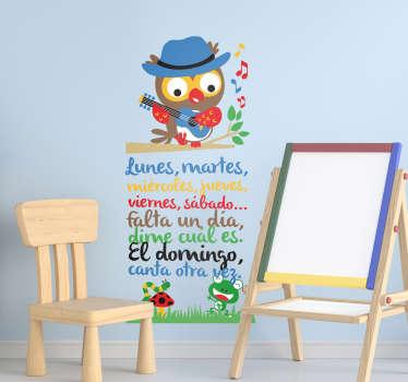 Colorida pegatina formada por una canción de los días de la semana, para que los pequeños los aprendan de una manera divertida. Precios imbatibles.