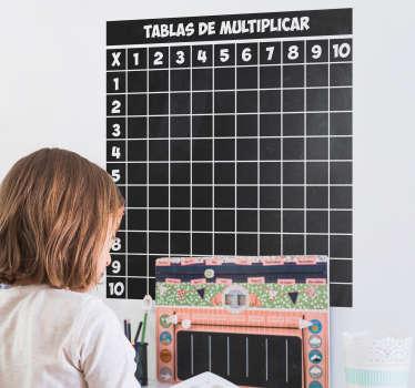 Compre nuestro vinilo de pizarra adhesiva para pared de una con tabla de multiplicar. Ideal para que los niños aprendan y memoricen.