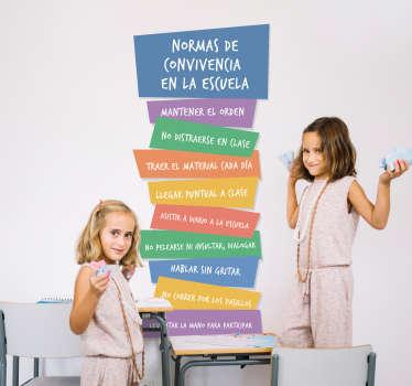 Vinilo adhesivo educativo para escuela con normas sobre convivencia en diferentes colores y puedes elegir el tamaño que desees. Fácil de colocar.