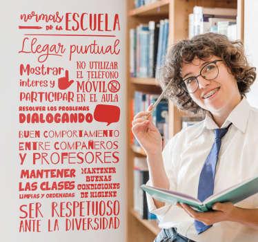 Un diseño de vinilo para pared educativo de una lista de reglas escolares en él. Elígelo en uno de los 50 colores disponibles que tenemos.