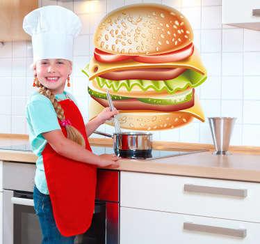 Sticker décoratif hamburger gourmand