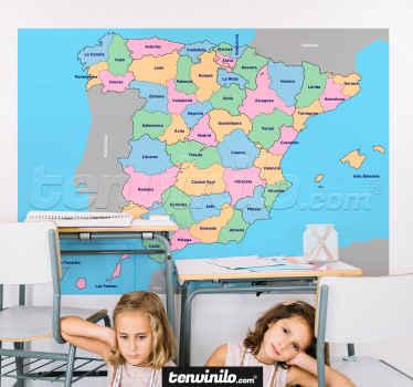 Un hermoso vinilo decorativo de mapa educativo de la provincia de España en un diseño multicolor. Disponible en diferentes opciones de tamaño.