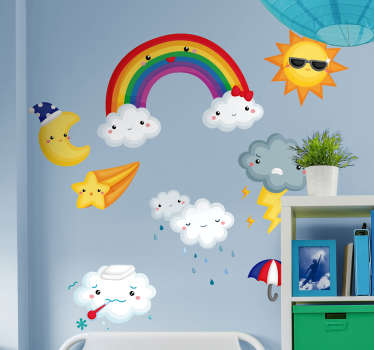 Illustrative wall vinyl decal for kids with the design of weather elements like rainbow, cloud, rainfall and more. Choose it in any size desirable.