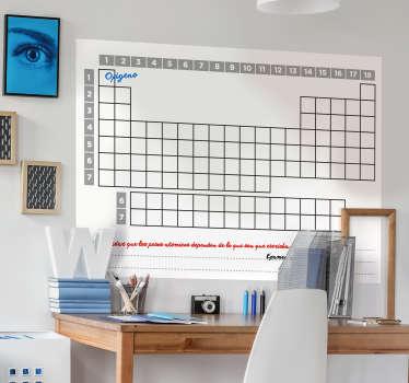 Psaní štítku na zeď periodické tabulky prvků. Je navržen s prostorem válců a sloupců. Přichází v různých velikostech.
