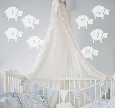 Counting sheep nursery wall stickers