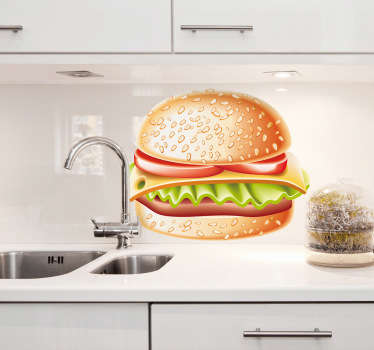 Golden Hamburger Sandwich Decal