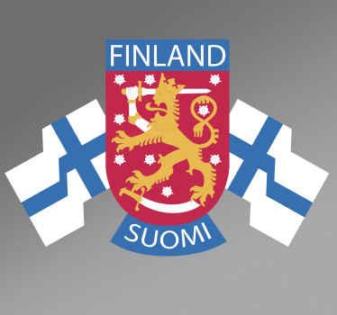 Koristeellinen autotarrasuunnittelu suomen tunnuksella lipun kanssa. Sitä on saatavana erikokoisina. Helppo levittää.