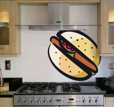 Wall Stickers - Decals - Colour stroke illustration of a burger with tomatoes and lettuce.