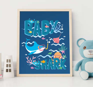 Decorative children wall sticker of a nursery rhyme of baby shark designed in beautiful colour with features of sea life. Easy to apply.