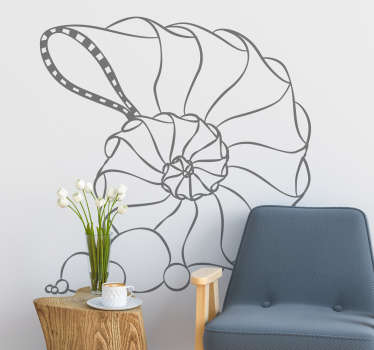 Spiral seashell fish wall sticker