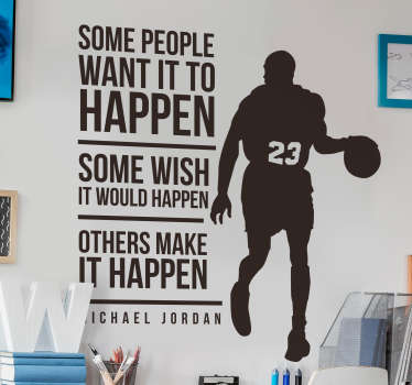 Get inspired by the greatest NBA player of all time with this motivational quote wall sticker. Choose from over 50 colours!