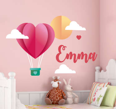 Make your daughter's bedroom that little bit more personal with this girls hot air balloon wall sticker. Choose from a wide array of sizes!