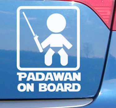 Let everyone know you've got a young Padawan on board with this car sticker. Available in a variety of sizes. Easy to apply.