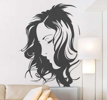 Decorative silhouette sticker of a woman´s face. Fantastic decal to decorate any room of your house.