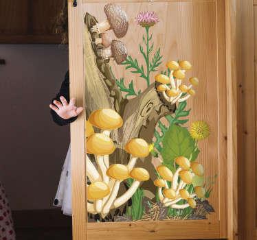 Mobilier decorativ design decal al unui arbore și al unei plante de ciuperci într-un efect vizual original. Vinil adeziv ușor de aplicat.