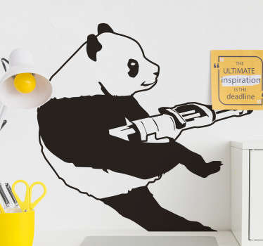 Decorative animal wall art sticker of Banksy panda design . Suitable for all flat surface and available i  different colour options.