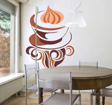 Adhesivo ilustración café capuccino