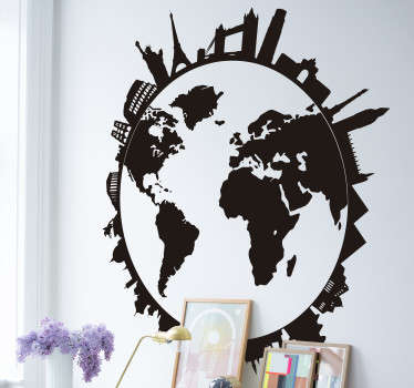 Easy to apply world map sticker with monuments and city skylines on it. A design that is available in different colour options to enjoy.