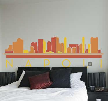 Adesivo murale camera da letto skyline napoli