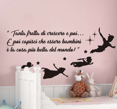 Sticker cameretta frase di Peter Pan